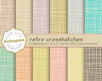 Retro Crosshatches, Digital Paper, Scrapbooking, Paper, 12x12, Printable, Pattern, Crosshatch, Texture, Retro, linen Background