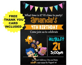 Bubble Guppies Invitation - Bubble Guppies Birthday Invitation - Free Thank you card - Bubble Guppies - Birthday Invitation