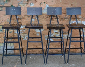 Reclaimed Urban  Bar Stools Set Of (3) with Steel Backs -Modern Salvaged Barn wood Fast Shipping