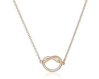 Gold Love Knot Necklace, Simple, Dainty, 14kt Gold Filled Necklace