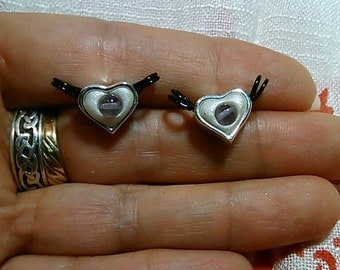 Polymer Clay Heart Charms with Amethyst Beads