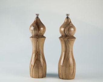 "Ambrosia Maple  8""pepper mill and salt mill set"