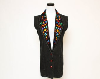 Vtg 90s Jeweled Sequin Urban Hip Hop Vest XS/S