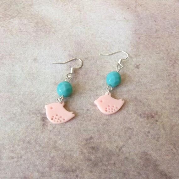 boucles d 39 oreilles oiseau perles cadeau ado fille par. Black Bedroom Furniture Sets. Home Design Ideas