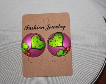 """1"""" Button earrings, button earrings, button stud earrings, flat back, earrings"""