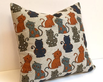 "Cat Pillow |  Animal Print Pillow | Miau Meow Pillow COVER ONLY | 16""x16"" (40.5cm x 40.5cm) | 18""x18"" (45.72cm x 45.72cm)"
