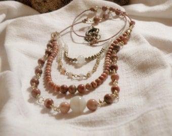 4-strand gemstone necklace