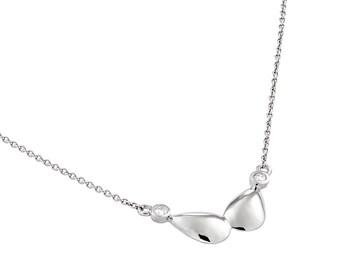 Diamond Necklace. Small Diamond Necklace. Gold Necklace 14K. Diamond Bezel Necklace. White Gold dainty necklace.