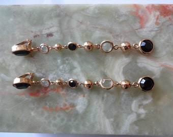 Vintage Statement Long Dangle Drop Earrings, Gold & Black, Clip-ons