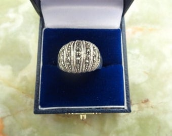 Vintage Sterling Silver Marcasite Ring, Art Deco