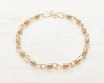Women's wire wrapped coiled bracelet