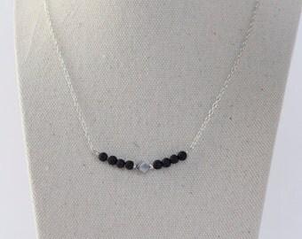 Lava Bead necklace, Silver necklace, delicate necklace, black necklace, minimalistic jewelry, simple necklace