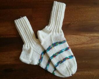 Wool socks, knitted socks, women clothing, warm feet, warm socks, winter socks, striped socks, winter clothes, cold feet, white wool socks