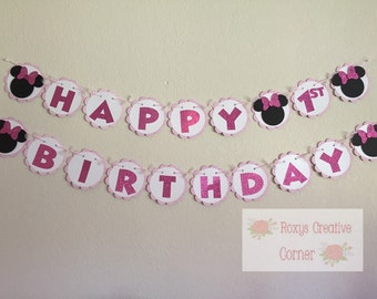 Minnie Mouse inspired first birthday banner
