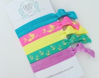 Mermaid hair ties, bright hair ties, pretty ponytail holders, stretchy bracelets, mermaid accessories, fold over elastic hair ties