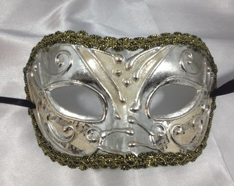 Silver Masquerade Mask with Fringe.