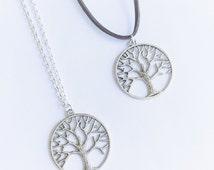 Tree Necklace, Silver Tree of Life Charm Pendant, Woodland Jewellery, Vegan Symbol, Tibetan Jewellery, Simple Jewellery, Everyday Jewellery