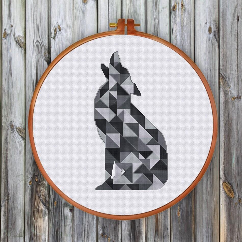 geometric wolf modern cross stitch pattern minimalist counted. Black Bedroom Furniture Sets. Home Design Ideas