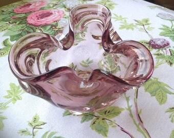 Vintage Amethyst Glass Bowl/ Small Art Glass Bowl/ Murano Style Glass Bowl/Purple Glass - 1970's