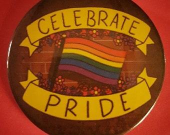 Celebrate LGBTQ Pride Pinback Button