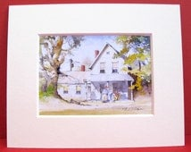 New England Connecticut Farm Miniature Keepsake Domestic Home Scene Family Mom Dad Baby Pop White Clapboard House New Home Art Print Gift