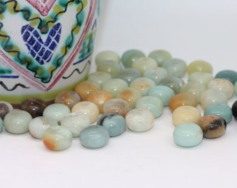 Natural Amazonite Rondelle Beads 10 x 7 mm/ Lovely soft Birds Egg Blue, Brown and Cream/ Amazonite Gemstone Beads