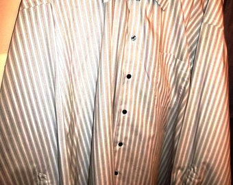 Man's Dress Shirt by Axcess, Vintage, Sz 18 1/2, 34/35, Gray/White, Striped Cotton Shirt, Point Collar,  Long Sleeves, Gray & White Stripe
