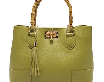 """bag model """"LADY BAMBOO"""" mustard real leather"""