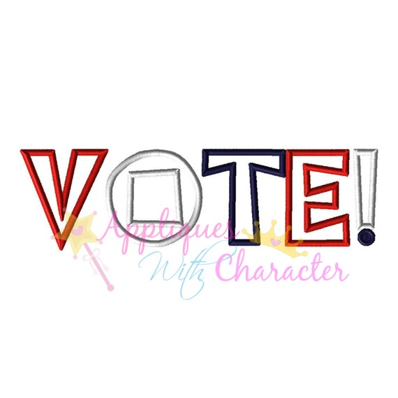 Vote word applique design embroidery by appliqueswcharacter