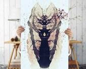 Grunge Art Print - Rorschach Art - Batik Style Tree Poster, Digital Download | Tree Art | Eclectic  Printable Wall Decor