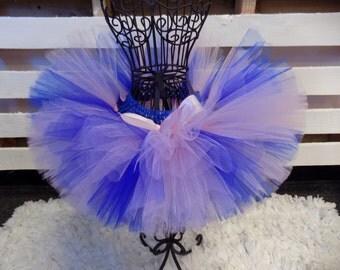 Soft pink and blue tutu skirt, birthday girl, newborn tutu, flower girl, wedding tutu, birthday tutu outfit