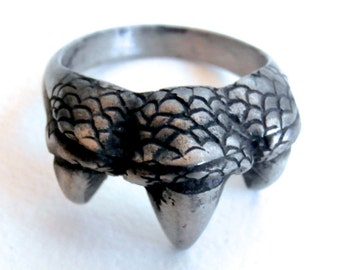 Mens Vintage Ring - Claw Ring - Steel Jewelry - Statement Ring