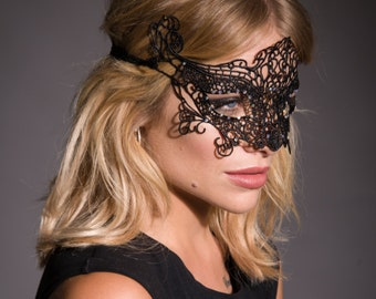 Black Lace Mask, Masquerade Mask, Lace Eye Mask, Party Mask, Costume Mask, Venetian Mask, New Years Party, Halloween Mask, Masked Ball