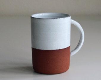 Rustic Terracotta Mug | Handmade Tea Cup with white glaze | Handmade in Manchester, England | READY TO SHIP