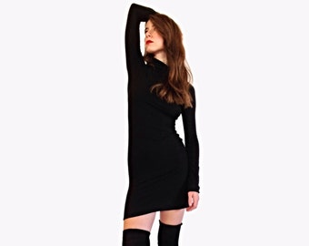 Long Sleeve Black Jersey Turtle Neck Dress