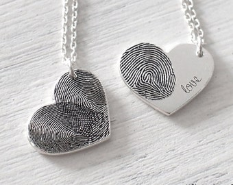 20% OFF Custom Actual Fingerprint Heart Necklace - Delicate Personalized Fingerprint Necklace For Her - Wedding Gifts - PN21