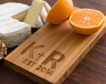 Wedding Personalized Cutting Board Gift Eco Dad Mom Anniversary Bamboo Laser Monogram Initials Engraved Chef Cheese Board