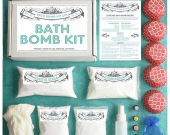Bath Bomb Making Kit with 100% Pure Therapeutic Grade Essential Oils, Gift Box Included, (Makes 12 DIY Lush Cupcake Mold Bath Bombs)