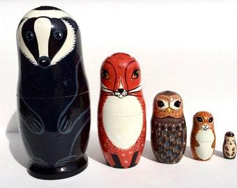 Animals Nesting dolls - Matryoshka - Russian nesting doll -Stacking dolls- Painted Nesting dolls - Scuns - Fox - Owl - Squirrel - Hedgehog