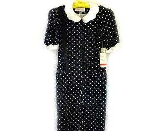 1980's Vintage Black and White Polka Dot Silk Dress NEW OLD Stock Medium Size 8