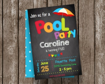 50% OFF SALE - Pool Party - Birthday - Swimming - Chalkboard - Invitation - Editable - INSTANT Download