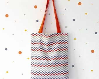 Promo ! Tote bag - shopping bag - Model  ZIG ZAG ORANGE
