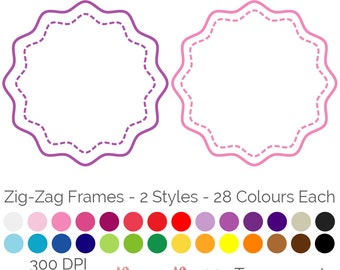 Zig Zag Dashed Frames 28 Colours Clip Art Geometric PNG JPEG Commercial Use Scrapbooking Instant Download