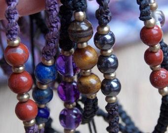 Kundalini Crystal Macrame Bracelet ( with adjustable slip knot )