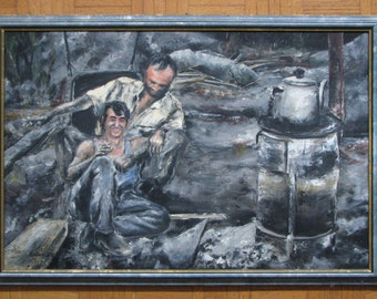 "Oil painting ""Miners"" , 32 x 22"