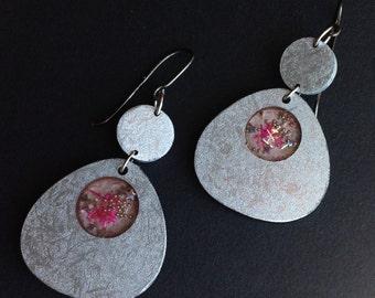 Grey dangle wood earrings