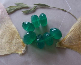 Green Chalcedony Gemstone Large Faceted Chunky Rondelle Beads ~ 7 Pieces ~ 11mm-12mm