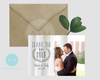 Customized Thank You Template, Photo Thank You, Wedding, Printable, Wedding Thank You, Thank You, KATE+JAKE Design