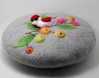 Wool beret with Needle Birds and fruit,Needle Felted hat pattern,romantic beret