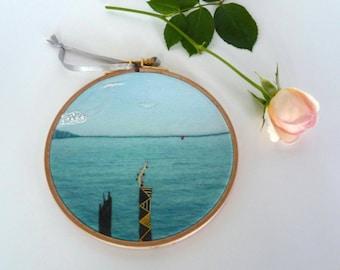 Italian lake embroidery hoop art / original photography